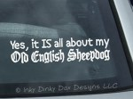 Old English Sheepdog car window sticker