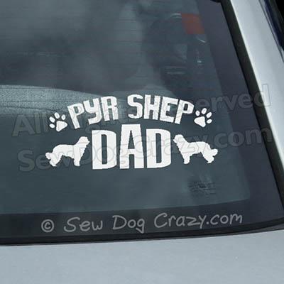 Pyrenean Shepherd Dad Car Window Sticker
