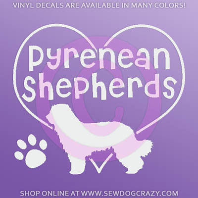I Love Pyrenean Shepherds Car Sticker