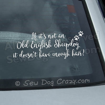 Funny Old English Sheepdog Car Stickers