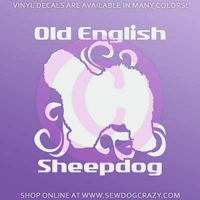 Tribal Old English Sheepdog Car Window Sticker