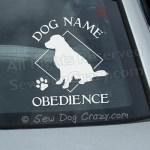 Personalized Golden Retriever Obedience Window Sticker
