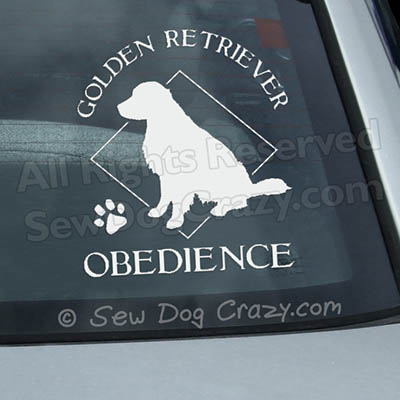 Golden Retriever Obedience Car Window Sticker