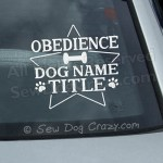 Custom Obedience Title Car Sticker