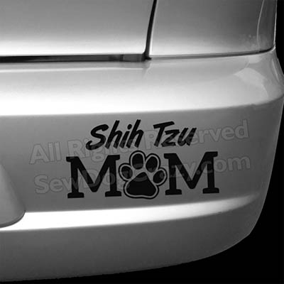 Vinyl Shih Tzu Mom Bumper Stickers
