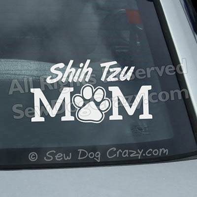 Vinyl Shih Tzu Mom Window Stickers