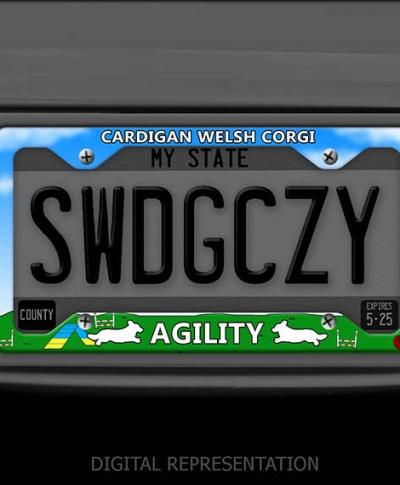 Cardigan Corgi Agility License Plate Frame