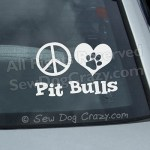 Peace Love Pit Bull Car Window Sticker