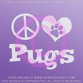 Peace Love Pugs Decal