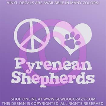 Peace Love Pyrenean Shepherd Decal