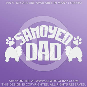 Vinyl Samoyed Dad Car Stickers
