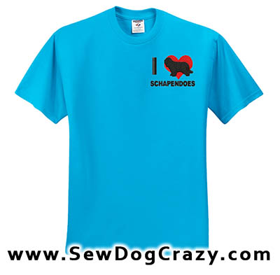 I Love Schapendoes embroidered TShirt