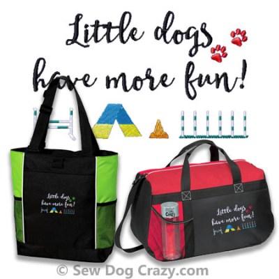 Little Dog Agility Embroidered Bag