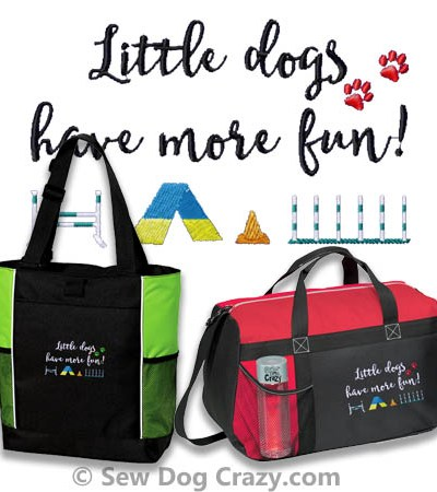 Little Dog Agility Embroidered Bag