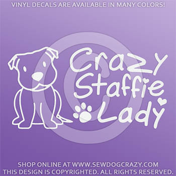 Crazy Staffie Lady Decal