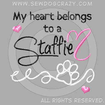 Embroidered Heart Staffordshire Bull Terrier Shirts