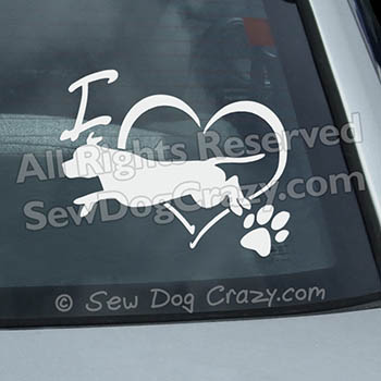 I Love Staffie Dog Sports Decal
