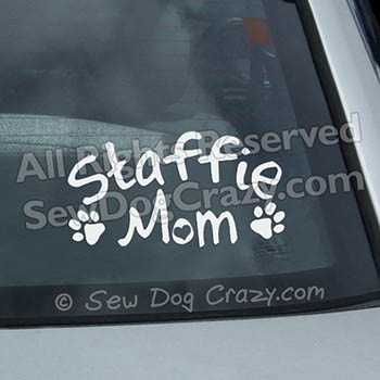 Staffie Mom Car Window Sticker