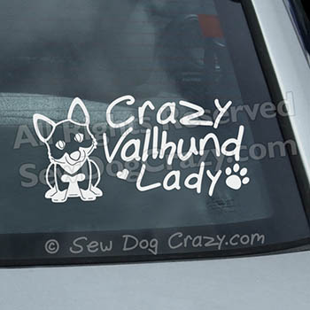 Crazy Vallhund Lady Car Window Sticker