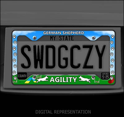 German Shepherd Agility License Plate Frame