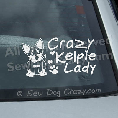 Crazy Kelpie Lady Car Window Sticker