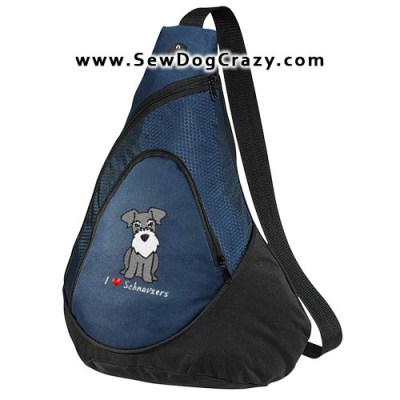 Embroidered Cartoon Schnauzer Bag