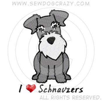 Embroidered Cartoon Schnauzer Gifts