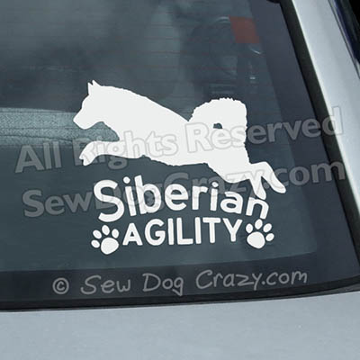 Vinyl Siberian Husky Agility Car Window Stickers