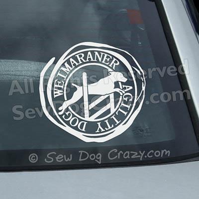 Weimaraner Agility Car Window Stickers
