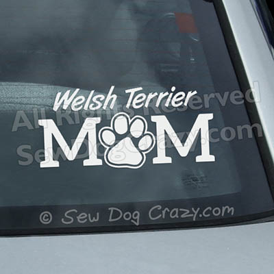 Vinyl Welsh Terrier Mom Stickers