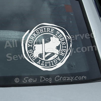 Agility Yorkie Window Stickers