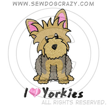 Embroidered Cartoon Yorkie Shirts