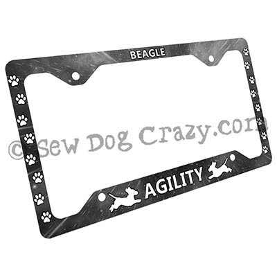 Monochrome Beagle Agility License Plate Frames