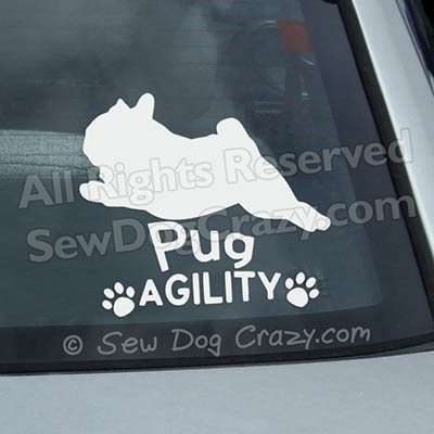 Pug Agility Car Window Stickers