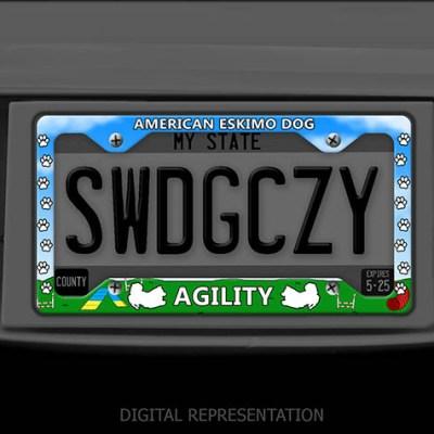 American Eskimo Dog Agility License Plate Frames