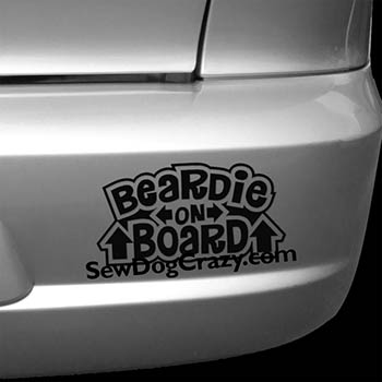 Bearded Collie On Board Car Decal