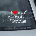 I Love my Boston Terrier Window Stickers