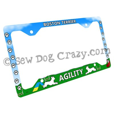 Agility Boston Terrier License Plate Frame