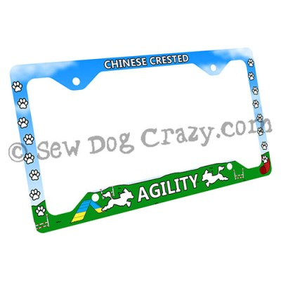 Chinese Crested Agility License Plate Frame