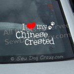 I Love my Chinese Crested Window Stickers