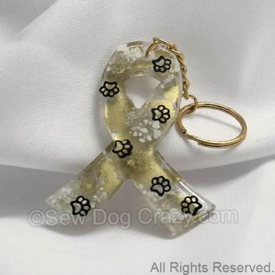 Metallic Gold Pastel Dog Cancer Ribbon