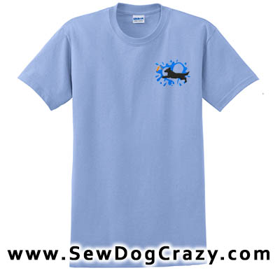 Embroidered Flat Coated Retriever Dock Jumping TShirts
