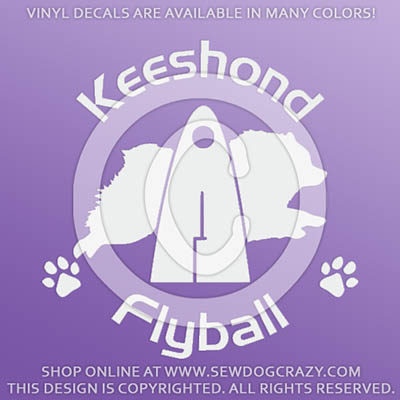 Keeshond Flyball Vinyl Stickers