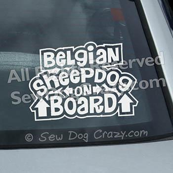 Belgian Sheepdog On Board Car Window Stickers