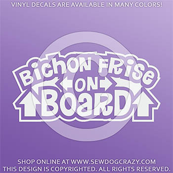 Bichon Frise On Board Vinyl Stickers
