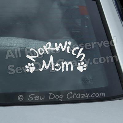 Norwich Terrier Mom Car Window Sticker