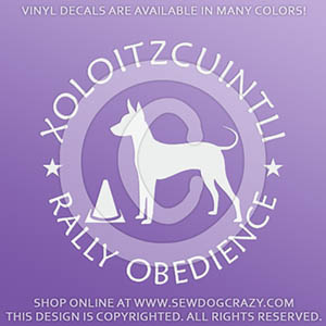 Xoloitzcuintli Rally Obedience Decals