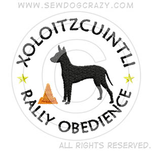 Embroidered Xoloitzcuintli Rally Obedience Gifts