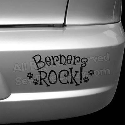 Bernese Mountain Dogs Rock Car Decal