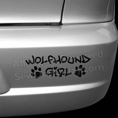 Irish Wolfhound Girl Car Decal